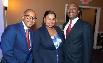 Event keynote speaker Dr. Jeff Gardere with Aza Mosley and her husband Sean Mosley, at the NAACP of Greater Waterbury's 55th annual Mind Body and Soul Freedom Fund Dinner held Saturday at the Courtyard Marriott in Waterbury. Jim Shannon Republican-American