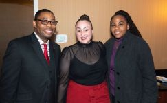 Kristopher Reese, Pastor at Grace Baptist Church with Samantha deJesus and Jacqueline LeGree, at the NAACP of Greater Waterbury's 55th annual Mind Body and Soul Freedom Fund Dinner held Saturday at the Courtyard Marriott in Waterbury. Jim Shannon Republican-American