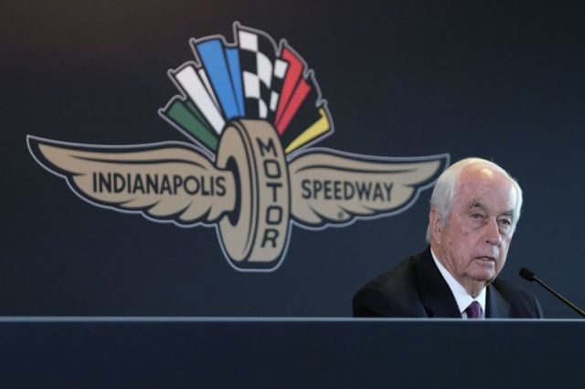 FILE - In this Monday, Nov. 4, 2019, file photo, Penske Corporation Chairman Roger Penske responds to a question about the sale of the Indianapolis Motor Speedway, IndyCar and related business from Hulman & Company to Penske Corporation, at a news conference in Indianapolis. Penske this week celebrated the crowning achievement of a career so rich in AmericaþÄôs fabric that he last month received the Presidential Medal of Freedom by buying iconic Indianapolis Motor Speedway. On Sunday he will watch two of his drivers try to make NASCARþÄôs championship race. (AP Photo/AJ Mast, File)