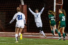 NAUGATUCK, CT. 20 November 2019-112019BS872 - Litchfield's Christina Orsini (7) raises her arms in celebration after scoring Litchfield's only goal, during the Girls Soccer Class S semifinal match between Litchfield and Holy Cross at Naugatuck High School on Wednesday. Holy Cross beat Litchfield 3-1 and advance to the Class S final this Saturday. Bill Shettle Republican-American