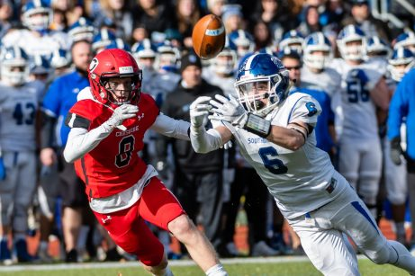 CHESHIRE, CT. 28 November 2019-112819BS1260 - Southington's Jack McManus (6), right, can't quite make the catch against Cheshire's Colby Griffin (8), during a SCC game and the annual Cheshire vs Southington Thanksgiving game called the Apple Valley Classic at Cheshire High School on Thursday. Southington won 21-20 in double overtime. Bill Shettle Republican-American