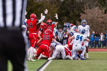 CHESHIRE, CT. 28 November 2019-112819BS1252 - Cheshire players Jack Lovelace (9) and Nicholas DiDomizio (12) both signal a touchdown after Cheshire scored a touchdown, during a SCC game and the annual Cheshire vs Southington Thanksgiving game called the Apple Valley Classic at Cheshire High School on Thursday. Southington won 21-20 in double overtime. Bill Shettle Republican-American