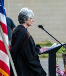 Judith McElhone, executive director of Five Points Center for the Visual Arts, was guest speaker during Northwestern Connecticut Community College's graduation ceremonies Thursday in Torrington. Jim Shannon Republican-American