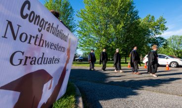 Staff and dignitaries make their way to the podium during Northwestern Connecticut Community College graduation ceremonies held Thursday at the Five Points Canter for the Arts in Torrington. Jim Shannon Republican American