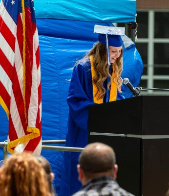 Class of 2021 Valedictorian Zoe Orie gives her remarks during graduation ceremonies Friday at Oliver Wolcott Technical High School in Torrington. Jim Shannon Republican American