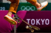 Leticia Bufoni, of Brazil, practices for the skateboarding competition in the 2020 Summer Olympics, Tuesday, July 20, 2021, at the Ariake Urban Sports Park in Tokyo. (AP Photo/Charlie Riedel)