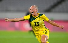 Australia's Tameka Yallop celebrates after scoring her side's opening goal during a women's soccer match against New Zealand at the 2020 Summer Olympics, Wednesday, July 21, 2021, in Tokyo. (AP Photo/Ricardo Mazalan)