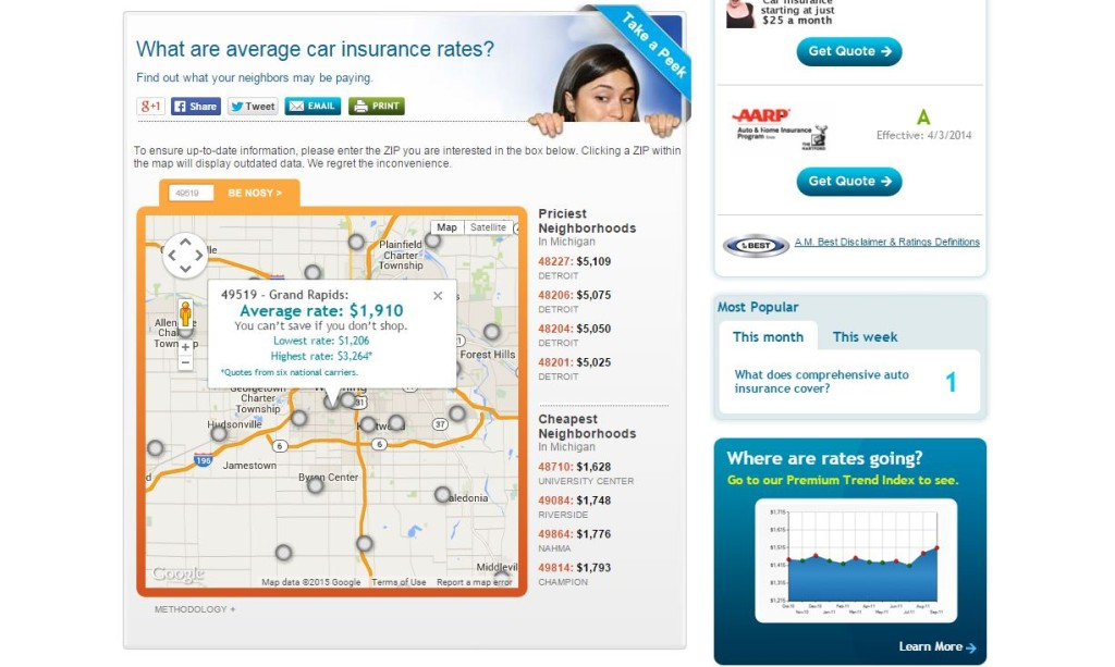 A screenshot of CarInsurance.com's ZIP code insurance rate calculator showing results for RDN's base of Wyoming, Mich. Note the Detroit rates at right. (Screenshot of www.carinsurance.com)