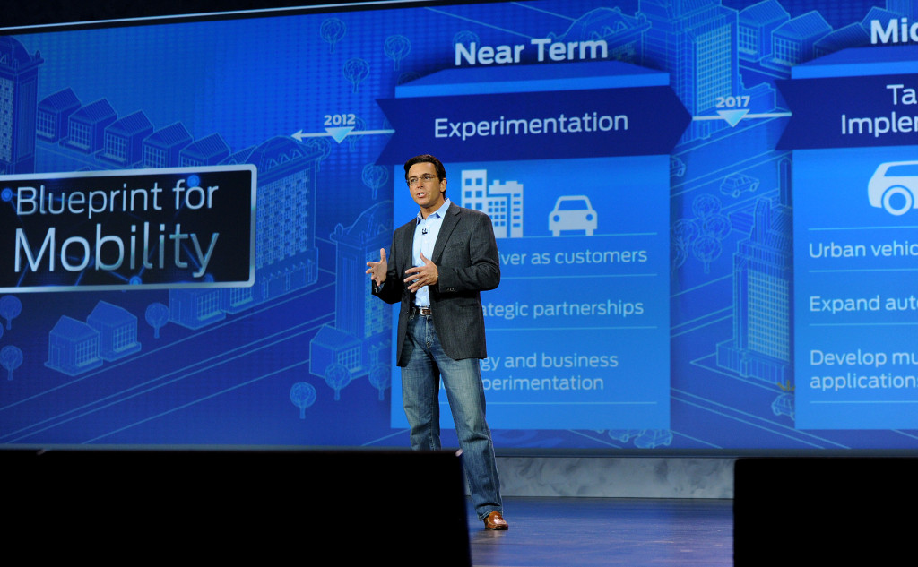Ford President and CEO Mark Fields gives a keynote address Jan. 6 at the Consumer Electronics Show. (Sam VarnHagen/Provided by Ford)