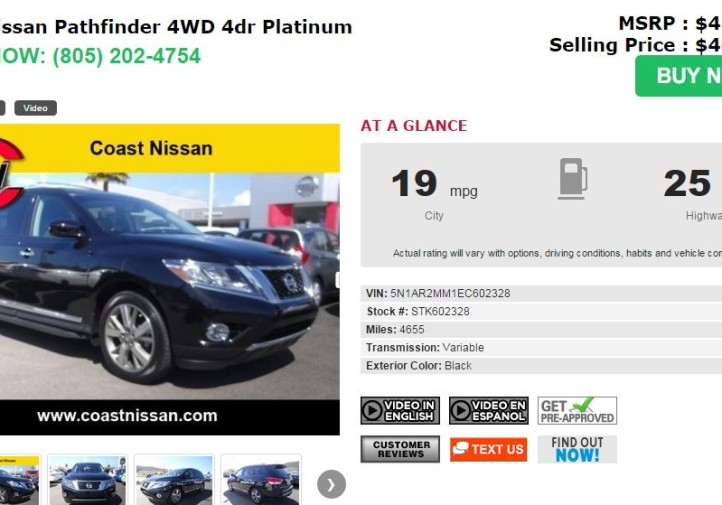 This screenshot from Coast Nissan shows an example of how the auto dealer is offering Spanish-language videos of new cars. (Screenshot of www.coastnissan.com)