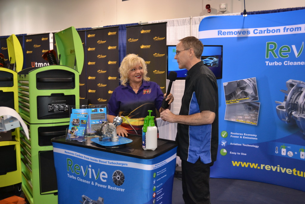 The Revive booth is seen at the 2014 SEMA Show. (Provided by Specialty Equipment Market Association)
