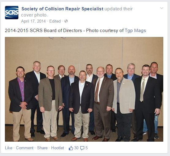 This Facebook post shows the 2014-15 Society of Collision Repair Specialists Board of Directors. The photo seen was provided by Thomas Greco Publishing. (From SCRS Facebook page)