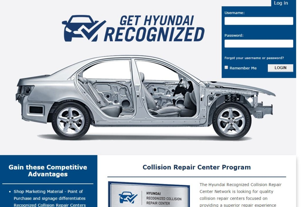 """Hyundai announced Tuesday it would recommend a """"Recognized Collision Repair Center"""" network to customers, the latest automaker to indicate which body shops it feels are truly qualified to fix its vehicles correctly. This screenshot comes from Hyundai's website advising shops how to get that designation. (Screenshot from www.gethyundairecognized.com)"""