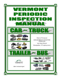 The manual cover for Vermont car inspections is shown. (Provided by Vermont Department of Motor Vehicles)