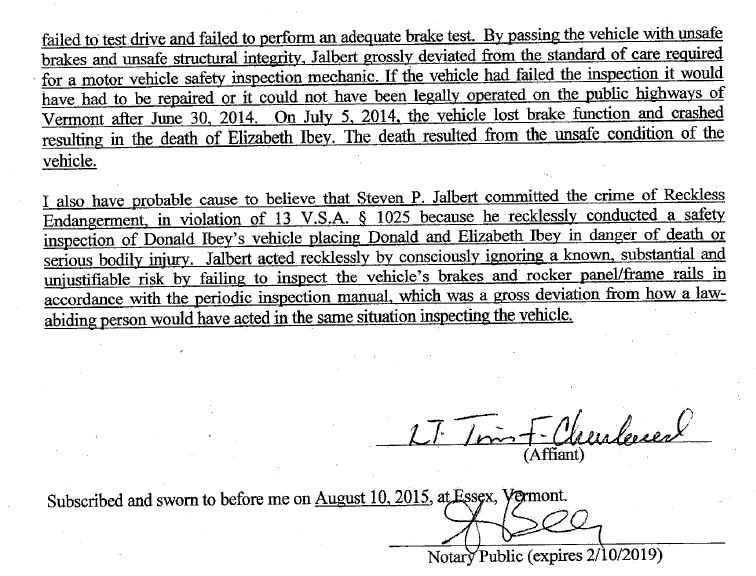 Part of the affidavit against Steven Jalbert by a Vermont Department of Motor Vehicles investigator. (Provided by Vermont Attorney General's Office)