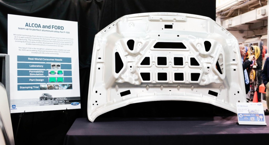 "Alcoa said in December 2014 that Micromill automotive alloys -- an example of which is seen here -- are as strong as high-strength steel but as malleable as mild steel. They're also 40 percent more formable and 30 percent stronger than traditional aluminum, the metals giant said in a December news release, ""enabling the production of automotive sheet that is thinner and even lighter than previous generations."" (Provided by Ford)"