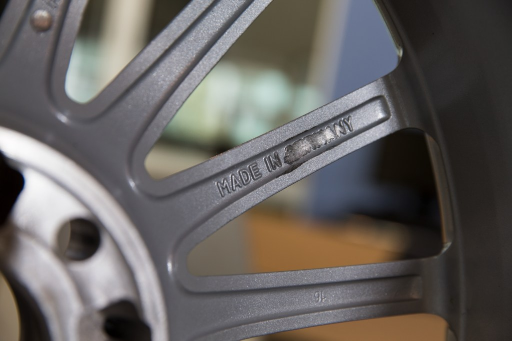 The makers of the fake wheel even copied ÒMade In GermanyÓ on the back of the wheel Ð but then have ground this off.