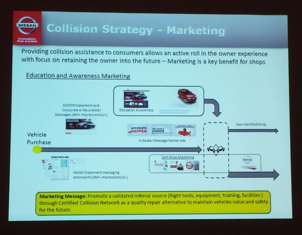 This Nissan slide from NACE 2015 shows how certified shops can be marketed. (John Huetter/Repairer Driven News)