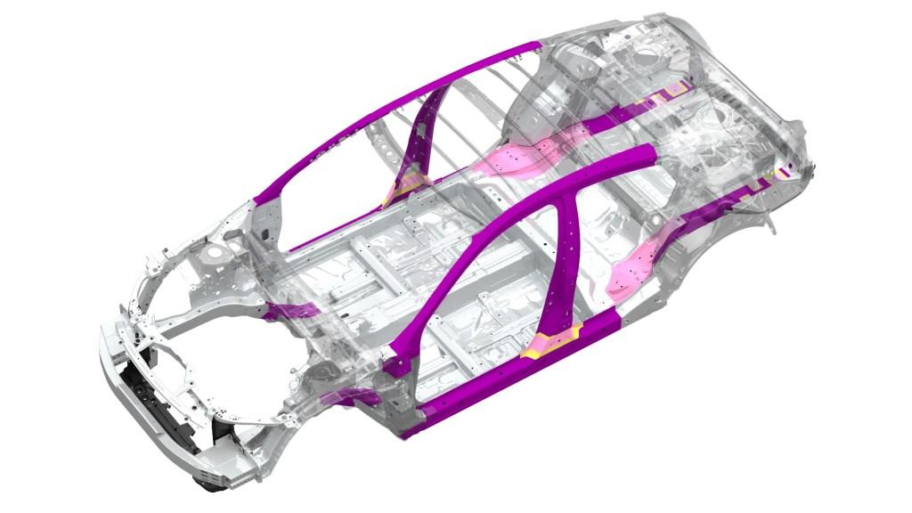 "2016 Honda Civic Sedan ""soft zones"" (pink) and ultra-high-strength steel (purple)"