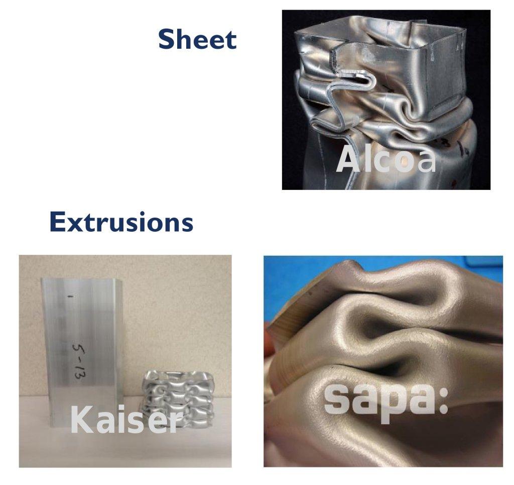 "Examples of ""crush grade"" aluminum are shown. (Alcoa, Kaiser Aluminum, Sapa:; via Doug Richman, Kaiser)"