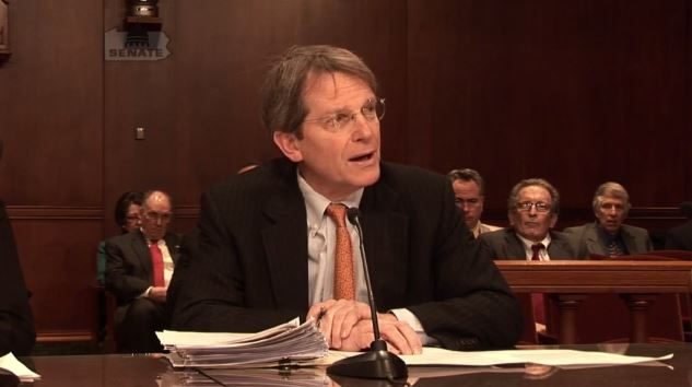 Insurance Federation of Pennsylvania President and CEO Sam Marshalll is shown here in a still from video from Pennsylvania Banking and Insurance Committee Chairman Don White. (Screenshot from www.senatordonwhite.com)