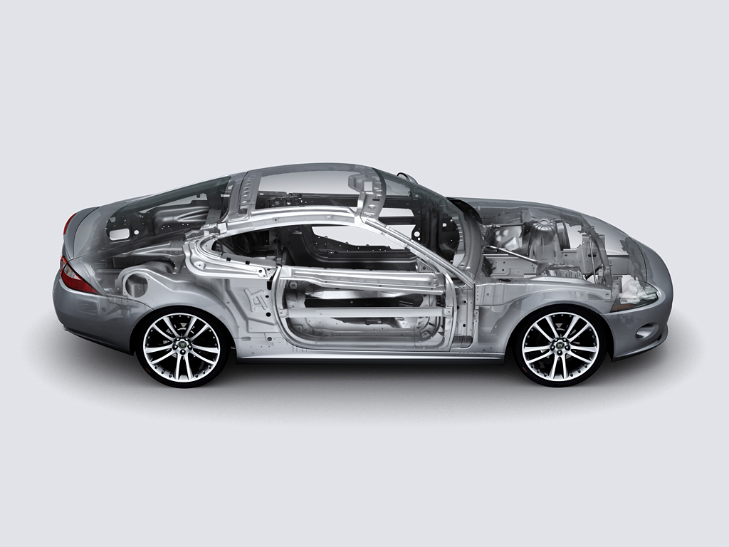 An unspecified Jaguar XK aluminum body is shown. (Jaguar Land Rover via International Aluminum Institute)