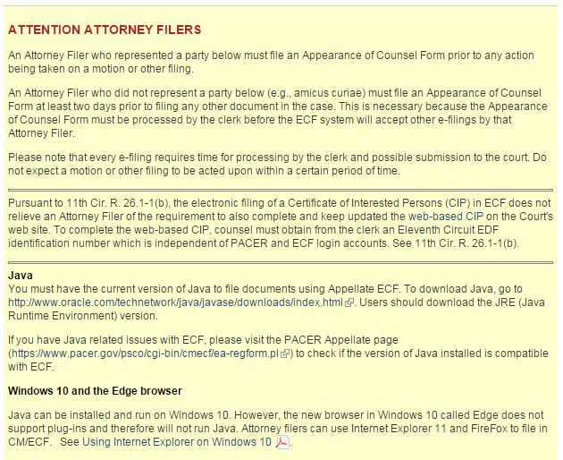 Attorneys for State Farm, GEICO, Allstate, Progressive and other major national insurers observed that the Eleventh Circuit Court of Appeals' website educates lawyers on the Java issue and how to compensate for the complications described by Eaves Law Firm. (Screenshot of Eleventh Circuit Court of Appeals website)