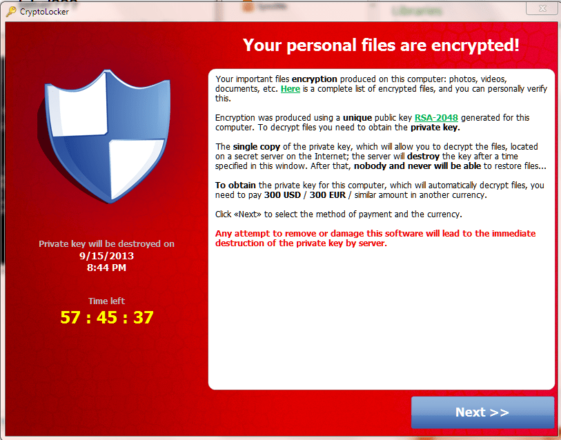 In 2014, U.S. and international law enforcement seized computers linked to the Cryptolocker ransomware, according to the FBI. (Provided by the FBI)