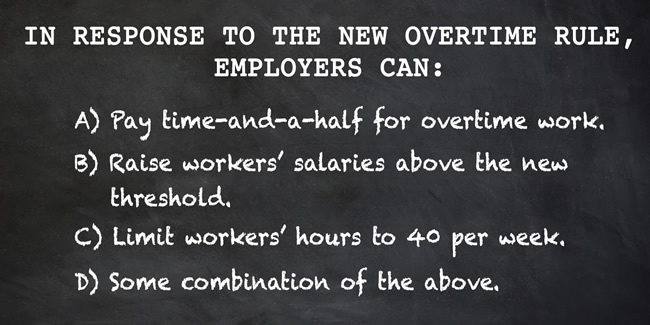 This Department of Labor image outlines employees' options under a new overtime rule. (Provided by Department of Labor)