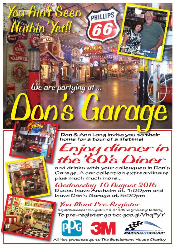 "Repairers can take a trip to ""Don's Garage"" in August 2016. It's an epic collection of classic cars and other nostalgia owned by Don and Ann Long. (PPG-3M-Martin Auto Color flyer provided by SCRS)"