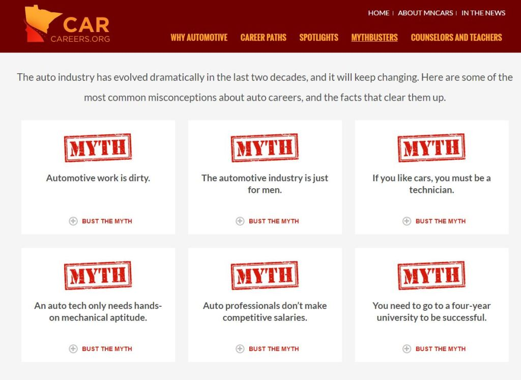 The spinoff 501(c)6 nonprofit Minnesota Careers in Automotive Repair and Service unveiled the CarCareers.org website on July 30, 2016. (Screenshot from www.carcareers.org)