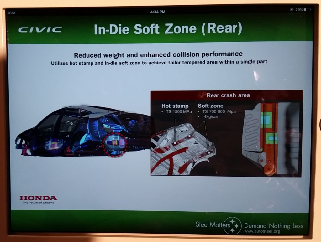 The soft zones on the 2016 Honda Civic can be seen in this Honda slide from the 2016 Great Designs in Steel. (John Huetter/Repairer Driven News)