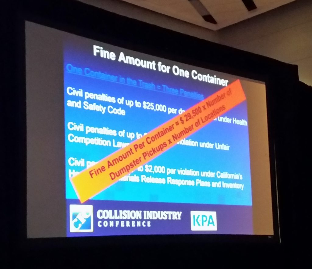 This slide from environmental consulting firm KPA displays potential California fines for environmental noncompliance. (Provided by KPA; photo by John Huetter/Repairer Driven News)