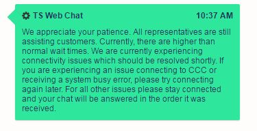 "10:44 a.m.: Estimating platform CCC is reporting ""connectivity issues which should be resolved shortly,"" a technical support chat indicates. (Screenshot from CCC)"