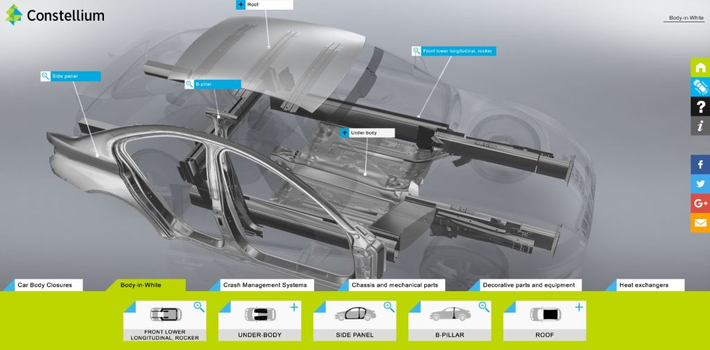 Shops and OEMs wondering about the potential for aluminum on upcoming model years might enjoy touring a new interactive showing how much of a vehicle body Constellium can make out of the metal. (Screenshot from www.automotive.products.constellium.com)