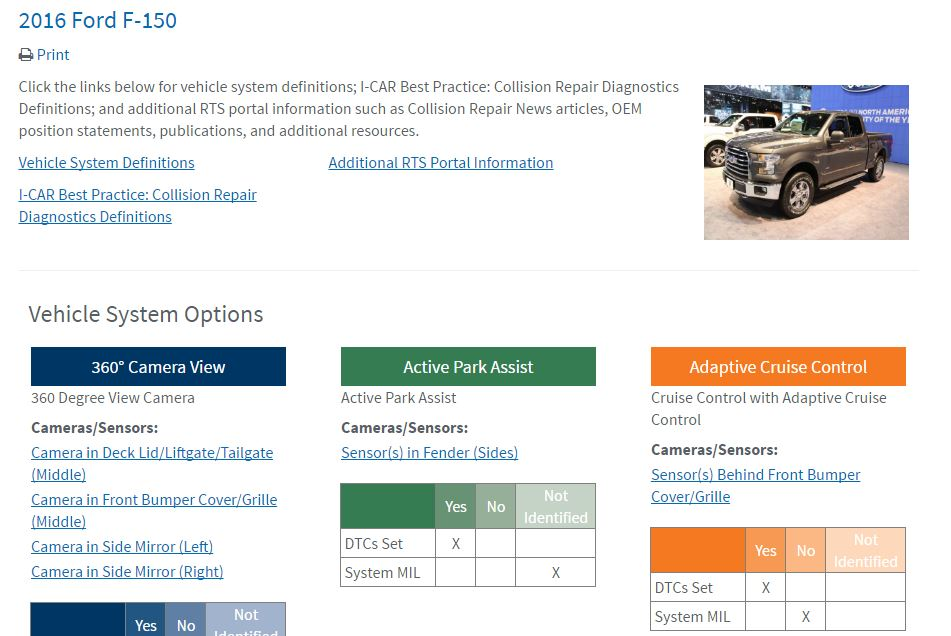 This screenshot from the I-CAR Repairability Technical Support portal shows the 2016 Ford F-150 on the new calibration database announced Nov. 1, 2016, by I-CAR. (Screenshot from rts.i-car.com)