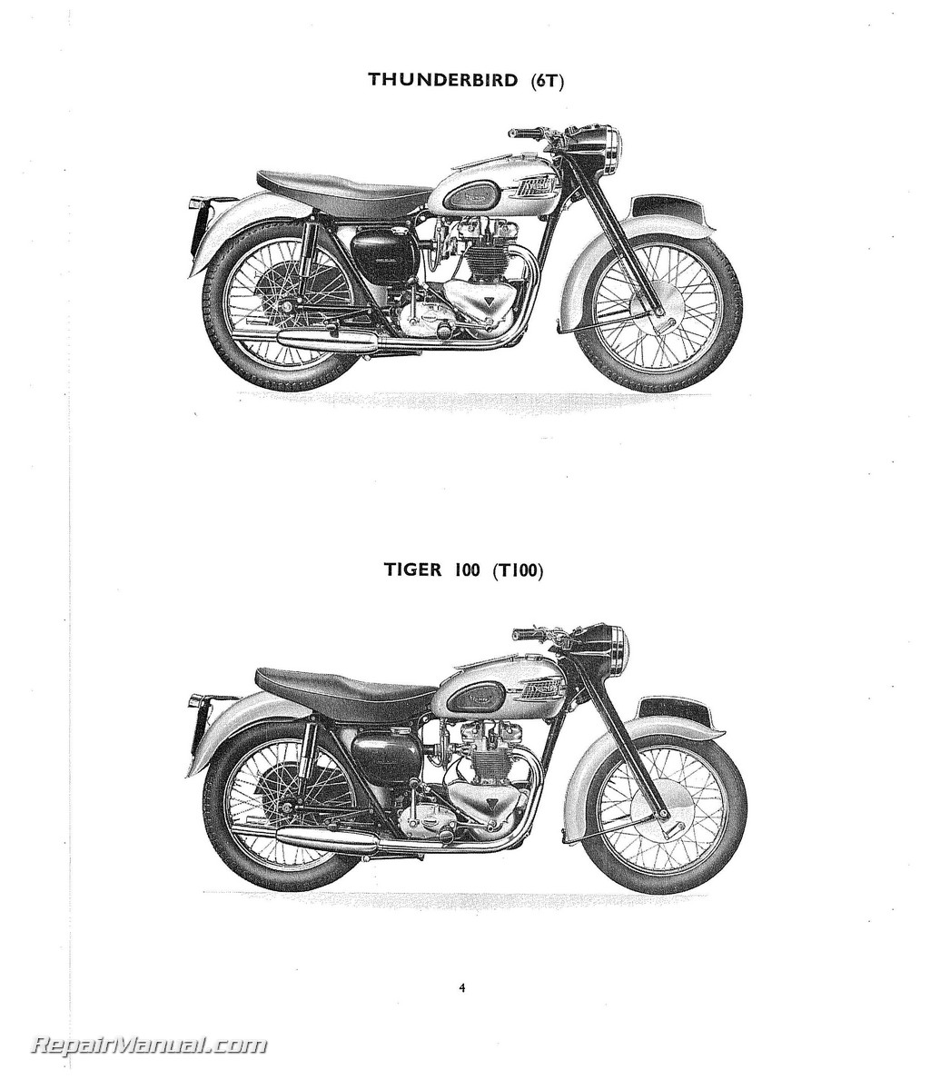 Triumph 6t T100 T110 T120 Tr6 Motorcycle Parts Manual