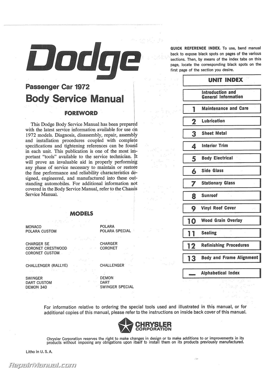 Service Manual Dodge Challenger