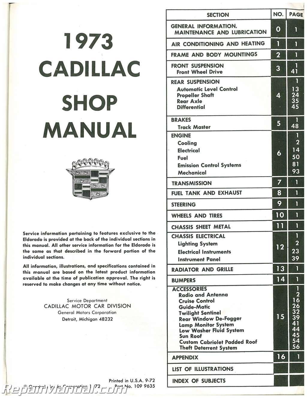 Used Cadillac Automobile Service Manual