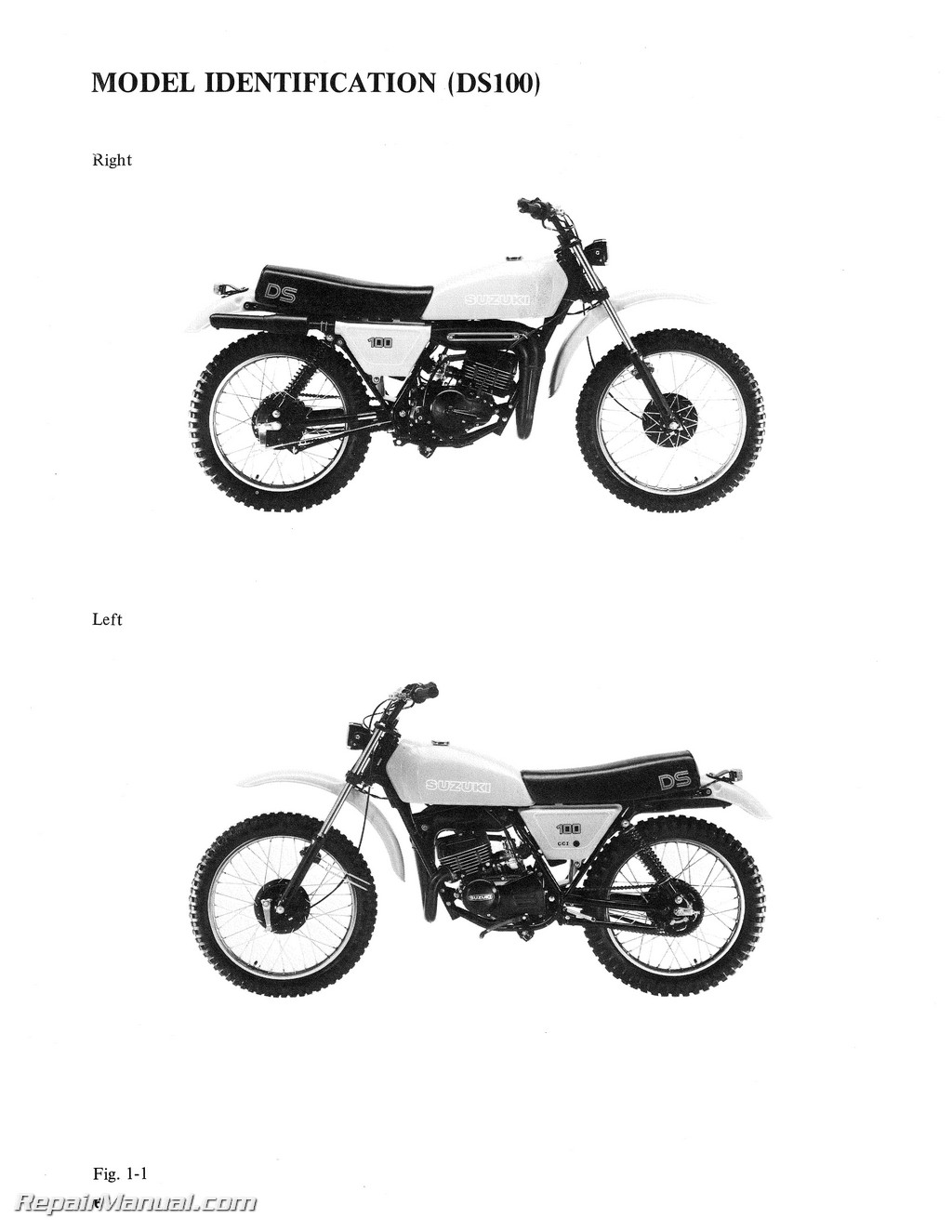 Suzuki Ds100 Ds125 Motorcycle Service Manual