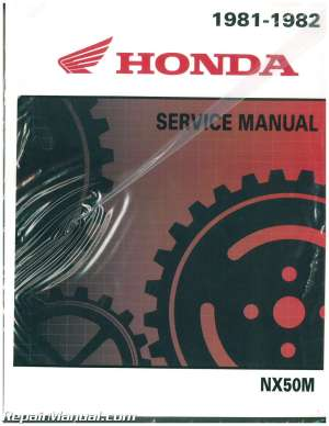 1981 1982 Honda NX50 Urban Express SR Scooter Service Manual