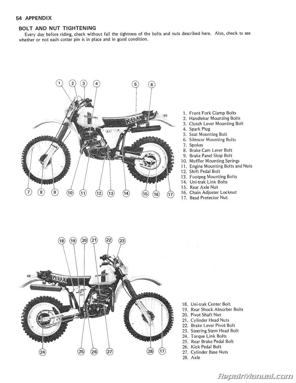 Kawasaki Kdx175 A Motorcycle Repair And