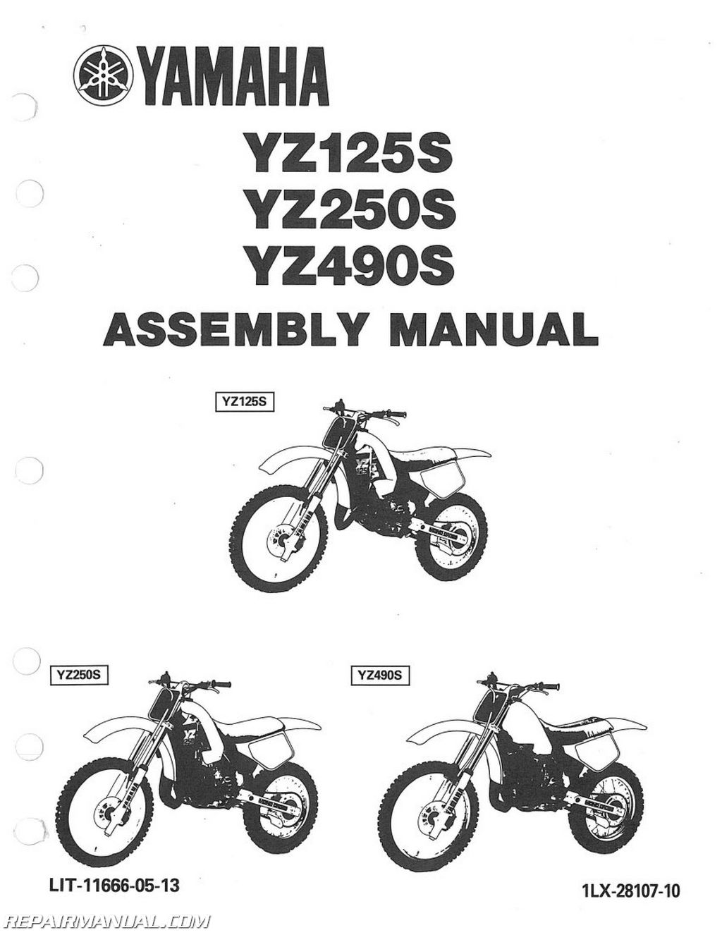 Yamaha Yz125s Yz250s Yz490s Assembly Manual