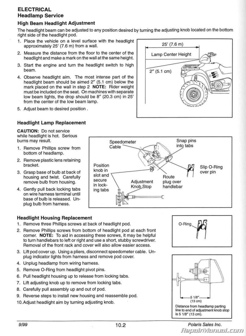 1996 2000 Polaris Sportsman 335 500 Atv Service Manual