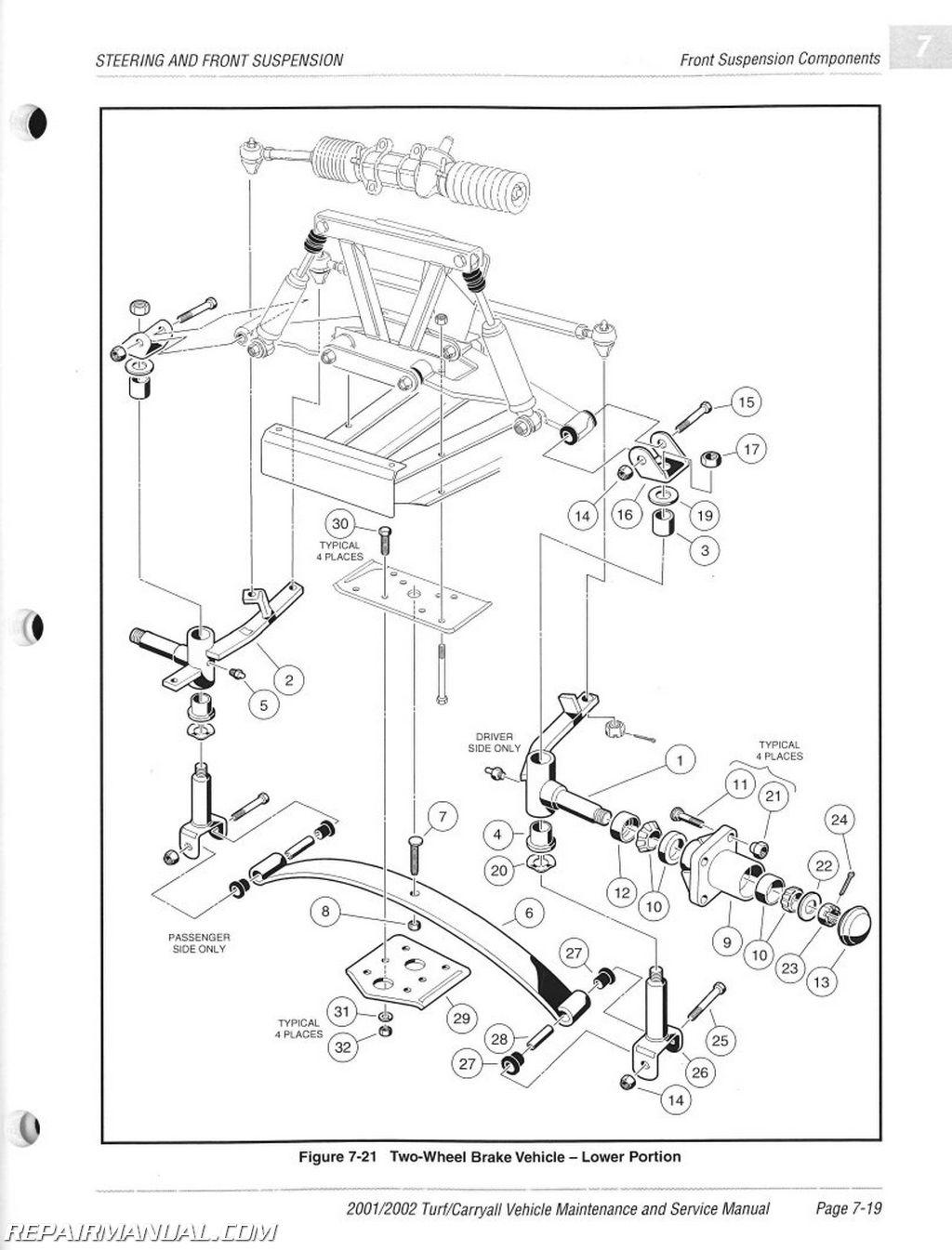 2001 2002 club car turf 1 2 6 carryall 1 2 plus 6 gas electric golf rh repairmanual club car golf cart wiring diagram 48 volt club car schematic