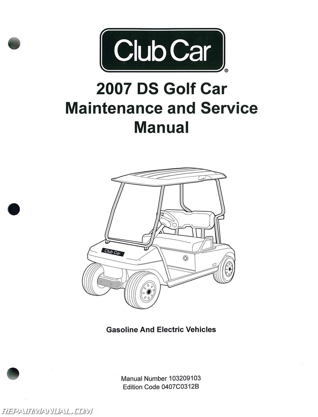 Club Car Ds Golf Car Gas And Electric Golf Cart Service Manual