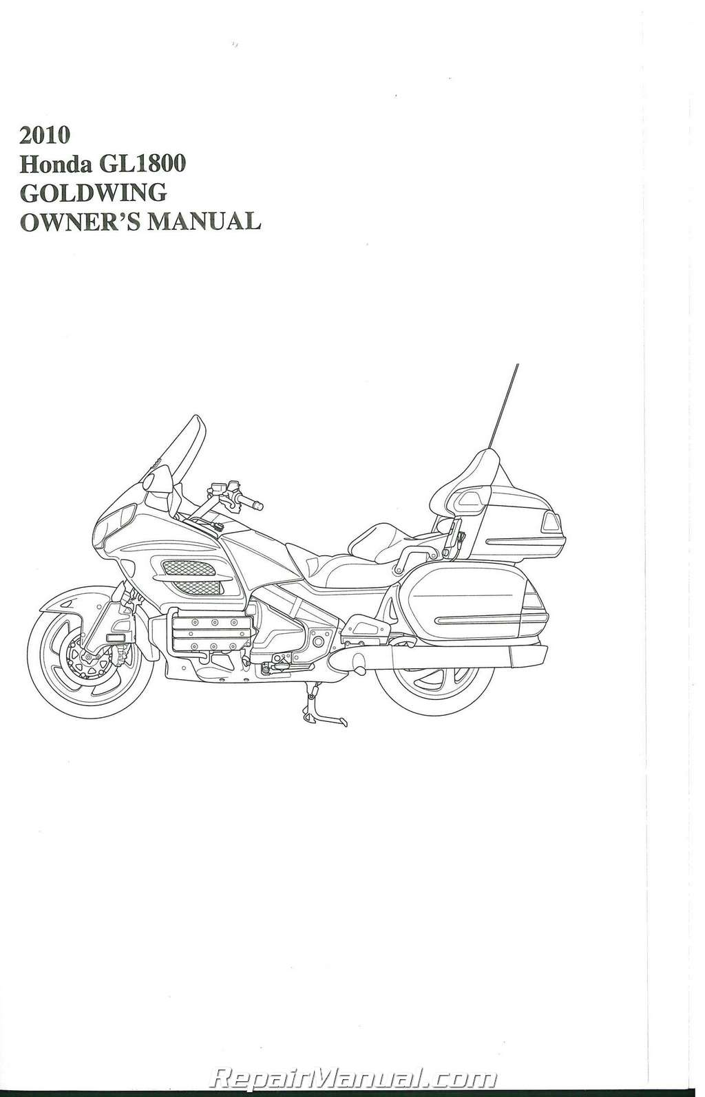 Honda Gl Gold Wing Motorcycle Owners Manual