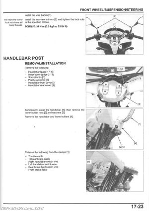 2013 – 2017 Honda PCX150 Scooter Service Manual : 61KZY03