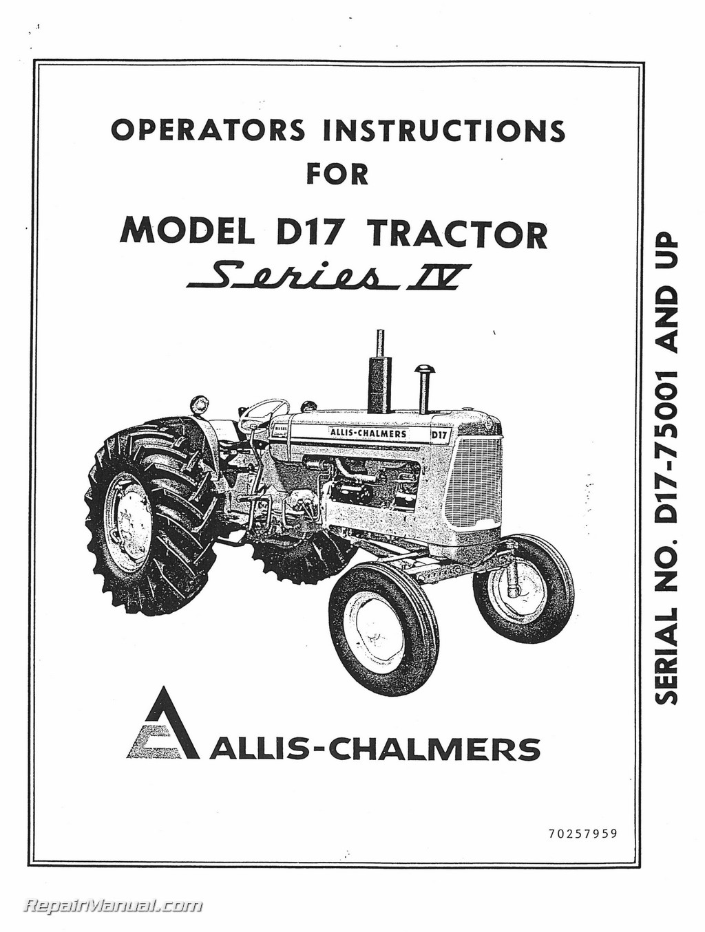 Allis Chalmers D 17 Series Iv Tractor Operators Manual