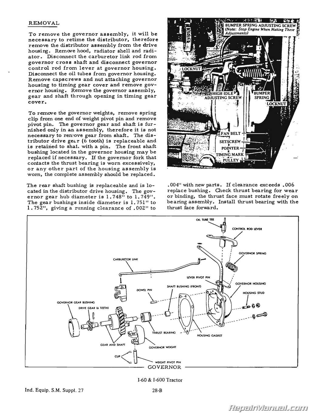 Allis Chalmers I60 I600 Tractor Service Manual